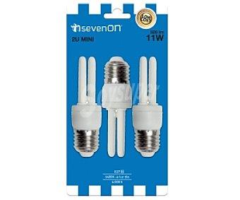 SEVENON Bombillas de bajo consumo 2U 11W, casquillo E27 (grueso), luz fría 3u