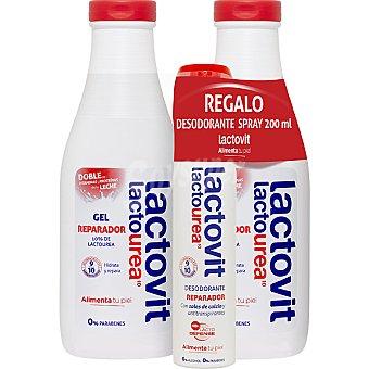 LACTOVIT Lactourea gel de baño reparador con doble de vitaminas y proteinas de la leche + desodorante spray 200 ml pack 2 bote 600 ml