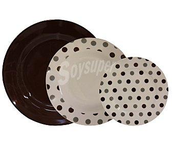 GSMD Vajilla de 19 piezas modelo Truffault, fabricada en porcelana de color blanco con puntitos color chocolate 1 Unidad