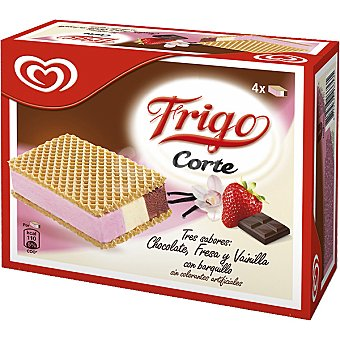 Frigo Helado corte tres sabores chocolate fresa y vainilla con barquillo estuche 560 ml 4 unidades