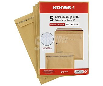 Kores 5 sobres de papel Kraft tamaño 220 x 340mm color marrón, con burbujas del número 16 kores