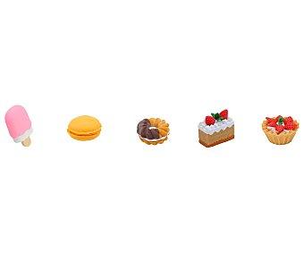 Miquel rius Lote de 5 gomas de borrar desmontables, tipo puzzle, con formas de diferentes dulces MIQUEL RIUS 5u