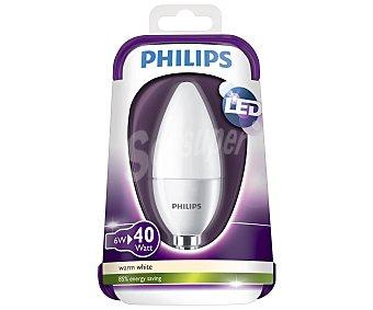 Philips Bombilla led vela de 6W, con casquillo E14 (fino) y luz cálida philips.