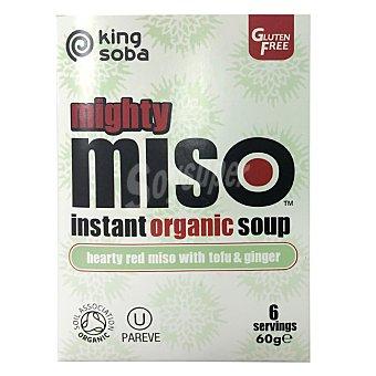 King Soba Sopa de miso con tofú y jenjibre ecológica Pack de 6 sobres de 60 g