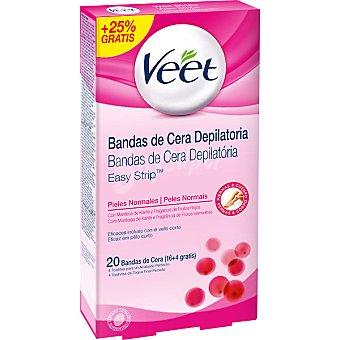 VEET bandas de cera depilatoria piel mormal con manteca de karité y fragancia de Frutos Rojos 16 + 4 gratis caja 20 unidades