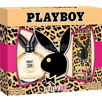 PLAYBOY Play It Wild eau de toilette femenina + desodorante spray 150 ml spray 90 ml