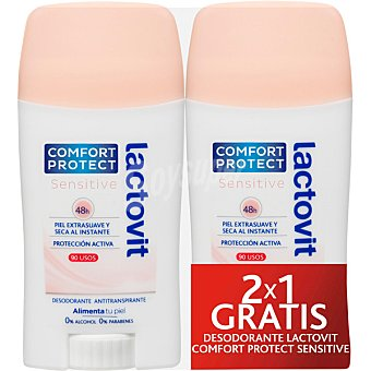 Lactovit Desodorante Comfort Protect Sensitive sin alcohol y anti-transpirante en stick pack 2 envase 40 ml Pack 2 envase 40 ml
