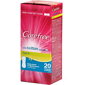 Carefree Protege slips transpirable fresh con extracto de algodón Caja 20 unidades