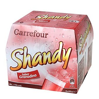 Carrefour Shandy sabor granadina Pack 6x25 cl