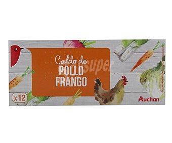 Auchan Caldo de pollo 12 pastillas 128 gramos