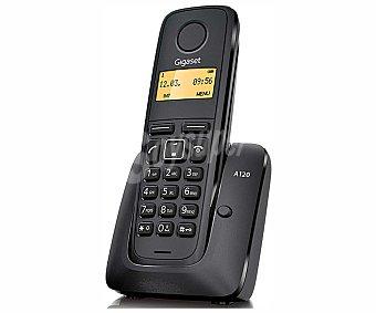 GIGASET A120 NEGRO Teléfono inalámbrico Dect, identificador de llamadas, agenda para 50 números, lista de las últimas llamadas perdidas con hora y fecha,