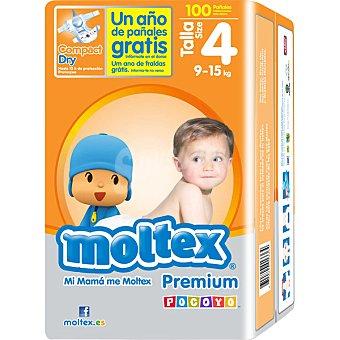 Moltex Pañales Premium de 9 a 15 kg Talla 4 Bolsa 100 unidades