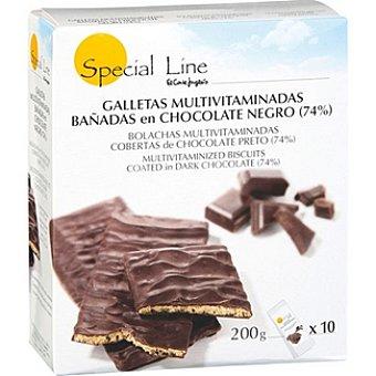 Special Line Galletas multivitaminadas bañadas en chocolate negro Estuche 200 g