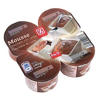 DIA Mousse de chocolate pack 4 unidades 240 g Pack 4 unidades 240 g