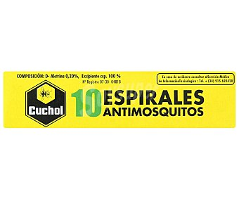 CUCHOL Espirales antimosquitos 10 Unidades
