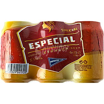 Hipercor Cerveza rubia Especial pack 6 lata 33 cl Pack 6 lata 33 cl