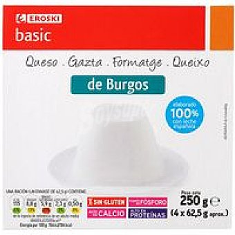 Eroski Basic Queso de Burgos Pack 4x62,5 g