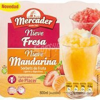 Mercader Granizado de fresa-mandarina Pack 4x190 ml
