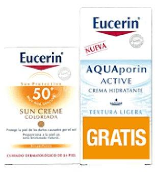 Eucerin Pack Crema Solar tinted SPF 50+ + Regalo Crema Aquaporin Facial 50ml 50 ml