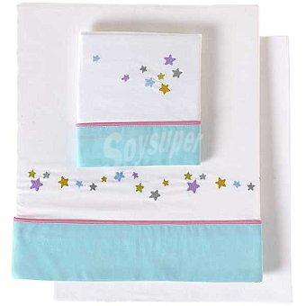 DOMBI Estrellas Juego de sábanas bordado con cenefa en azul para minicuna