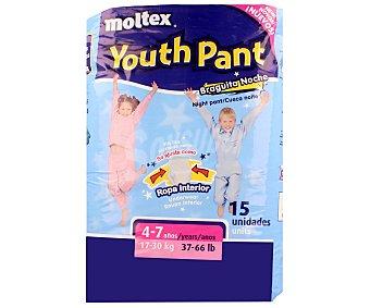 Moltex Pañales talla 3 para niños de 4 a 7 años, de 17 a 30 kilogramos, 15 unidades 15 unidades