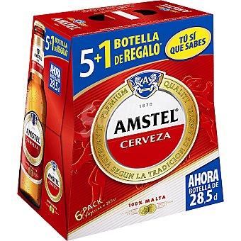 AMSTEL cerveza rubia nacional + 1 botella gratis pack 5 botellas 28,5 cl