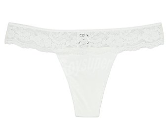 RMC Tanga de algodón color blanco, talla M