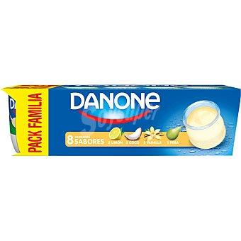 DANONE Yogur sabores 2 coco+ 2 limón +2 vainilla+ 2 pera 8 unidades de 120 g