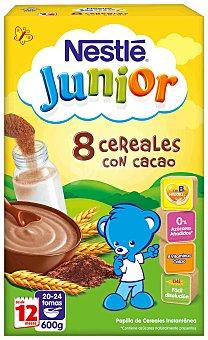 NESTLE JUNIOR 8 Cereales con cacao papilla instantanea con bifidus desde 12 meses envase 600 g
