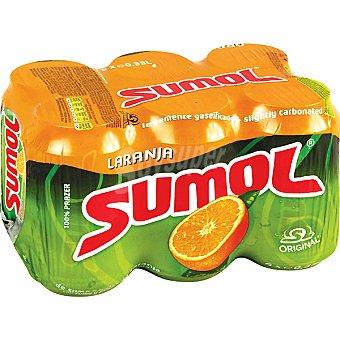 SUMOL Refresco de naranja con gas 6 latas de 33 cl