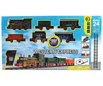 TRENES Tren del oeste Pista de tren El Tren del Oeste con luces y sonidos, incluye estación, locomotora y vagones trenes