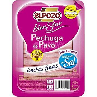 ELPOZO BIENSTAR Pechuga de pavo sin grasa en lonchas finas Envase 180 g
