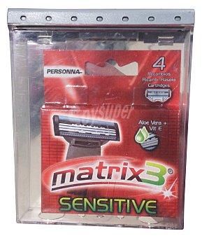Matrix 3 Recambio cargador afeitar titanium Paquete de 4 uds