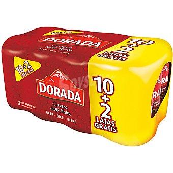 Dorada Cerveza rubia nacional 100% Malta pack 10 latas 33 cl Pack 10 latas 33 cl