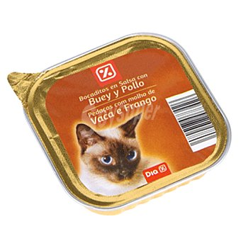 DIA Alimento para gatos trocitos buey y pollo Tarrina 100 gr