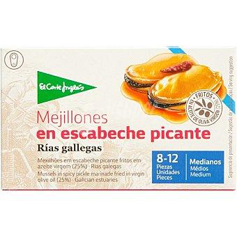 El Corte Inglés Mejillones en escabeche picante de las rías gallegas 8-12 piezas  lata 69 g neto escurrido