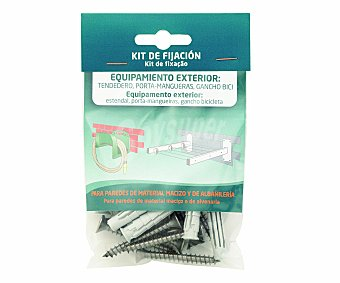 ARREGUI Kit que incluye tacos y tornillos para uso en paredes de material macizo y de albañileria para la fijación de equipamiento exterior (tendedero, porta manguera, ganchos de bicicleta...) 1 unidad