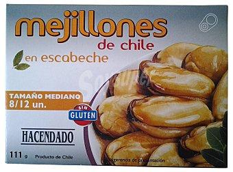 HACENDADO MEJILLON ESCABECHE 8/12 PIEZAS DE CHILE MEDIANOS LATA 111 g ESCURRIDO