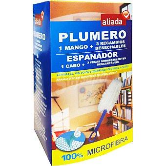 Aliada Plumero atrapa polvo microfibra mango + 3 recambios