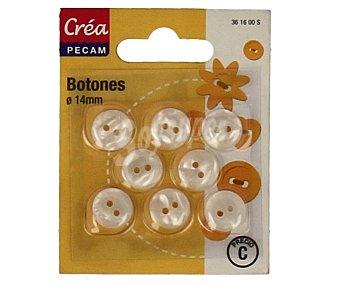 CREA PECAM Pack de 8 botones abombados de 14 milímetros, color blanco 1 Unidad