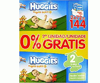 HUGGIES SUPERSECO Pañales Super Jumbo Talla 2 (3 a 6 Kilogramos) 144u