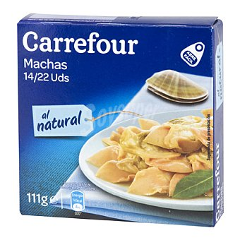Carrefour Almejas Machas Chilenas peso neto 138 gr; peso escurrido 78 gr. 78 g