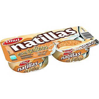 Dhul Natillas con sabor a vainilla con galleta Pack 2 envase 125 g