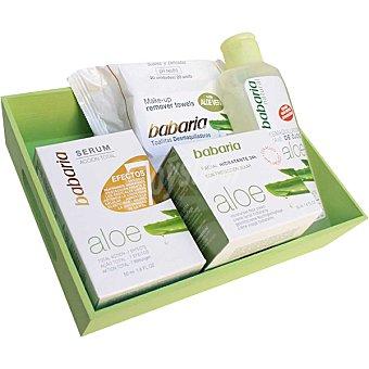 Babaria Pack Aloe compuesto por serum + crema facial hidratente + toallitas desmaquillantes + desmaquillador de ojos