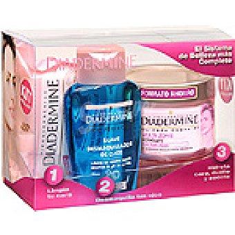 Diadermine Crema hidratante cuidado Esencial Multi-Zone cara cuello y escote + desmaquillador de ojos suave + toallitas