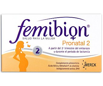 FEMIBION Complemento alimenticio para el embarazo con ácido fólico y metafolin a partir del segundo trimestre del embarazo y durante el periodo de lactancia 30 cápsulas