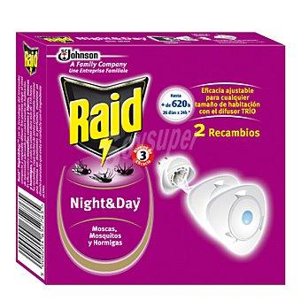 Raid Insecticida eléctrico Night & Day recambio 2 ud