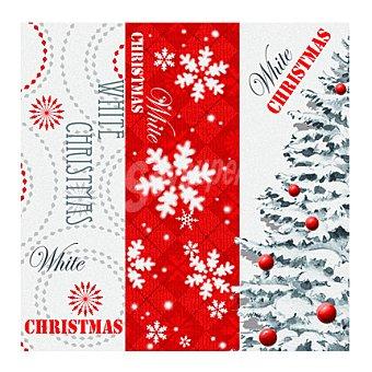 BLANCA 20 Servilletas desechables 33x33 cm 3 capas decorado Navidad 20 ud