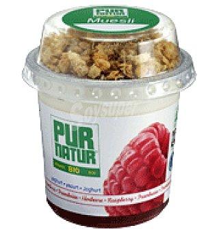Pur Natur Yogurt ecológico con frambuesas ecológicas y topping de muesli ecológico 160 g