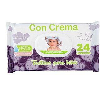 Deliplus Toallitas húmedas bebe con crema hidratante y aloe vera (nuevo perfume) Paquete de 24 uds